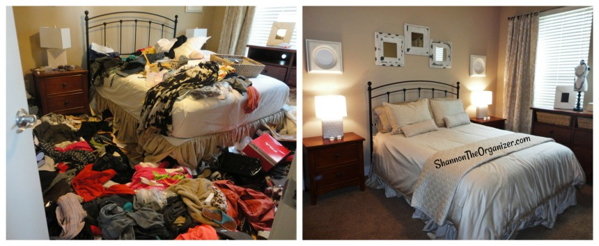 before and after bedroom organizing
